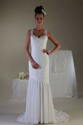 Pallas Athena wedding dress/gown- white sheath style wedding dress with sweetheart neckline, and beaded straps. For the Bride Boutique Ft. Myers, Florida