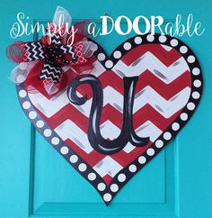 Heart Valentine's Day Wood Door Hanger by Simply aDOORable!  Heart Wood Door Hanger, Heart Door Decor, Valentines Door Decor, Monogram Heart by SimplyaDOORableNC on Etsy https://www.etsy.com/listing/262192614/heart-valentines-day-wood-door-hanger-by