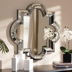 Shop Aliana Antiqued Silver Quatrefoil Wall Mirror - x - x - On Sale - Overstock - 10825101 Silver Wall Mirror, Mirror With Shelf, Round Wall Mirror, Wall Mirror Ideas, Diy Mirror, Art Deco Spiegel, Art Deco Mirror, Mirror Shapes, Crystal Wall