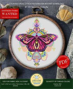 This is modern cross-stitch pattern of Mandala Butterfly for instant download. You will get 7-pages PDF file, which includes: - main picture for your reference; - colorful scheme for cross-stitch; - list of DMC thread colors (instruction and key section); - list of calculated