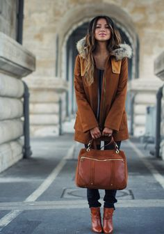 Love the coat, bag and boots...Hello, Fall! Sezane, Paris