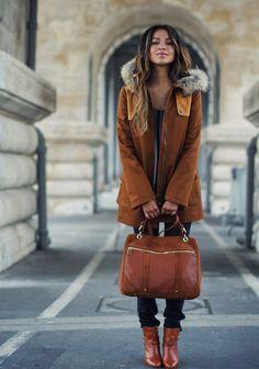 Love the coat, bag and boots...Hello, Fall! Sezane, Paris
