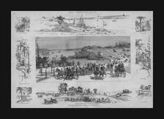 RIVERSIDE Park, NEW YORK CITY, antique view, antique, engraving, Original 1885 #antique