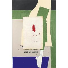 Robert Motherwell (American, 1915 - 1991). Port of Boston II. Acrylic and paper collage on canvasboard. Executed in 1977, and signed en verso.