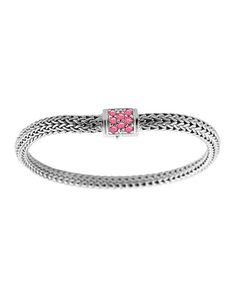 John Hardy Classic Chain Reversible Bracelet With Pink Sapphire Xs Pink sapphire GyU2t