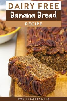 Your kids will love this oatmeal filled banana bread, and it's a healthy breakfast or snack that you can feel good about them eating. The bread is quick and easy, takes just one bowl, and is gluten free, dairy free, refined sugar free, and vegan friendly, but doesn't skimp on the flavor. #healthybananabread #bananabreadrecipes #healthybreakfast #veganbananabread #glutenfreebreakfast Gluten Free Recipes For Kids, Gluten Free Rice, Gluten Free Baking, Gluten Free Desserts, Dairy Free Banana Bread, Healthy Banana Bread, Banana Bread Recipes, Lunch Box Recipes, Snack Recipes