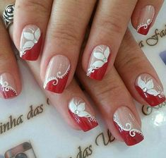 Decorated nails: trends in manicure for Autumn / Winter # nails decorated - Best Nail Art Nail Tip Designs, Acrylic Nail Designs, Nails Design, Fancy Nails, Red Nails, Holiday Nails, Christmas Nails, Christmas Nail Art Designs, Pretty Nail Art