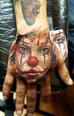 Tattoo Artist - Dmitry Vision - Face clown tattoo