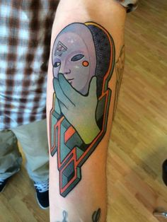 Is this a reference to something? I have no idea, but it's pretty rad. /// maze-mask-surreal-tattoo_Anthony-Ortega