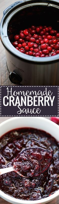 Healthy Recipes : Homemade Cranberry Sauce (Slow Cooker) - an easy recipe that cooks itself in the. Thanksgiving Recipes, Fall Recipes, Holiday Recipes, Thanksgiving 2017, Thanksgiving Sides, Slow Cooker Recipes, Crockpot Recipes, Cooking Recipes, Sauce Recipes