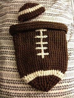 Free Crochet Pattern:  Here in the Waiting Place: Crocheted Football Baby Cocoon & Hat