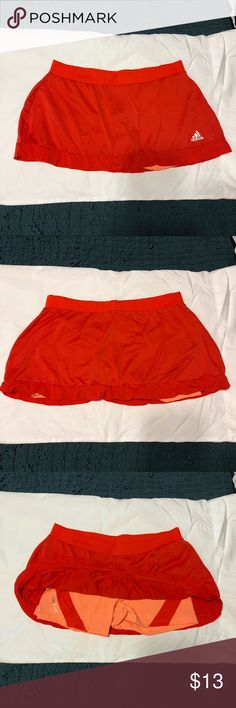 Adidas Tennis Skirt - Red / Peach - Large Red Adidas Tennis Skirt with Peach colored under shorts. Size Large adidas Skirts Mini