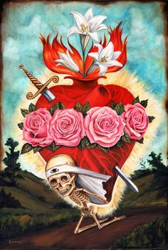 Sacred heart tattoo w/o the skeleton, just the heart Art And Illustration, Art Beat, Pattern Texture, Frida Art, Mark Ryden, Skulls And Roses, Chicano Art, Wow Art, Religious Icons