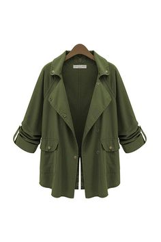 Army Green Buttoned Slit Lapel Coat - US$21.95 -YOINS