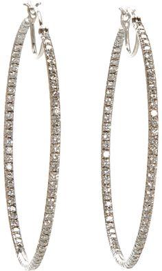 Cathy Waterman Pave Diamond Hoop Earrings