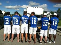 Bills fans supporting Jim Kelly in his fight against cancer. In my mind they are all honorary 12's.