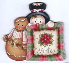 CHRISTMAS GINGERBREAD GIRL AND SNOWMAN CLIP ART