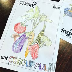 Veggie art and craft a great way to increase food knowledge and experiences. My almost 5 year old coloured this (without help). Who knew she knew what colour eggplant is :) This is a colouring sheet from our What's Growing book (available through the website). Let me know if you want a copy of the colouring in sheet and I can post a link.  kate #vegetables #foost #eatcolourful #veggiecraft #schoolholidays #veggiefun #artandcraft