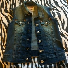 True religion jean jacket Authentic true religion jean jacket.. Medium wash distressed look size s Jeans