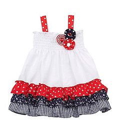 Rare Editions Infant Fourth of July Seersucker Dress #Dillards