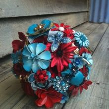 turquoise and red brooch bouquet