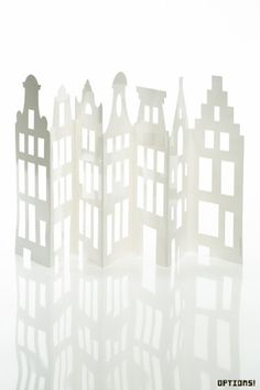Folding card of Amsterdam houses. Paper Pop, Diy Paper, Paper Crafts, Diy Crafts, Amsterdam Houses, The White Album, Glitter Houses, Paper Houses, Expo