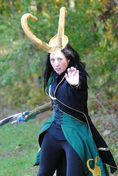 Lady Loki.  Costume by Storied Threads and Corsair's Boutique.  Modeled by Veronica of Storied Threads.  Photo by Lauren Dubois.