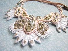 White necklace Ivory necklace Rhinestone by BohoShabbyChic on Etsy