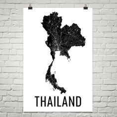 **MADE IN THE USA**  Youll love this amazing Thailand Map! This Thailand city street map shows all of the winding streets of Thailand. This will fit any decor, and also make great gifts. If you love Thailand this is for you!  Weve superimposed thousands of street lines over Thailand to create this masterpiece. The different widths represent the size of the roads. Its an amazing map of Thailand!  The frame/matte is not included. The default layout of the prints will be a half inch border ...