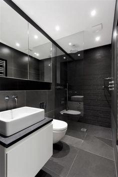 kleines bad einrichten badfliesen modern | bad | pinterest ... - Badfliesen Anthrazit