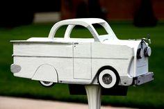 White Vehicle Mail Box