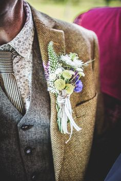 Colourful Festival Wedding Rustic Buttonhole Groom http://www.pixiesinthecellar.co.uk/