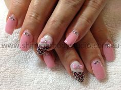 Gel nails, pink nails, animal print nails, leopard print nails, 3d nail art, bows nail art, 3d bows, crystals, diamantes.