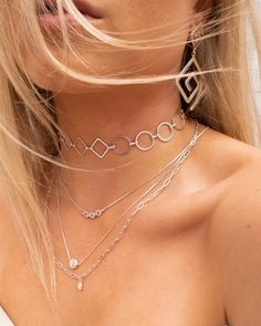 Blair Chain Charm Necklace- Silver (Ships Mid September) | Luv Aj
