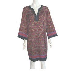 Nicole Miller Celtic Print Tunic Dress NWT Gold Metallic Trim Size 14  #NicoleMiller #Tunic #Casual