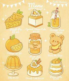 Cute Food Drawings, Cute Kawaii Drawings, Kawaii Doodles, Cute Doodles, Cute Animal Drawings, Griffonnages Kawaii, Arte Do Kawaii, Arte Copic, Cute Food Art