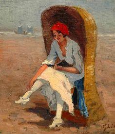 Anthonie Pieter Schotel (1890-1958). Lezen op het strand van Scheveningen. (Coll. Simonis&Buunk, Ede)