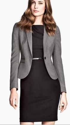professional work dress + grey blazer for corporate offices   skirttheceiling