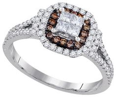 Chocolate Diamond Bridal Ring 14K White Gold 0.64 cts. GD-91643 [GD-91643] - $799.99 : Diamonds, Engagement Rings, Wedding Bands, His and Hers Sets, America's Largest Engagement Ring and Wedding Band Distributor.