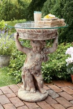 Florentine Side Table - This beautifully creative little table made from a garden statue will be the look on any porch and even in the house from Soft Surroundings Rustic French Country, French Country Furniture, French Country Decorating, Country Chic, Wine Country, Unique Furniture, Garden Furniture, Garden Art, Garden Ideas