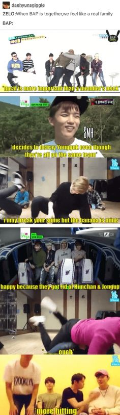 "That seems like a real family to me! | B.A.P new quote ""I may break you spine but the banana is mine"""