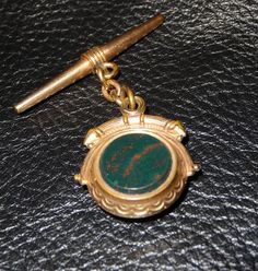 Antique Watch Fob Ornament Bloodstone Rose by ElegantArtifacts