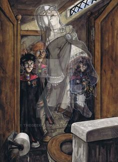 Harry, Ron and Hermione meet Moaning Myrtle in the Hogwarts girls' bathroom in Chamber of Secrets. Harry Potter Book 2, Harry Potter Artwork, Harry Potter Universal, Classe Harry Potter, Ron And Harry, Harry Potter Illustrations, Chamber Of Secrets, Harry Potter Collection, Monster