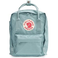 Fjällräven 'Mini Kånken' Water Resistant Backpack (€53) ❤ liked on Polyvore featuring bags, backpacks, accessories, fillers, sky blue, long strap bags, backpacks bags, handle bag, mini rucksack and water resistant backpack