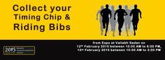 Participants, Kindly collect your Timing chip & riding Bibs from Expo at Vallabh Sadan on 12th FEB 2015 between 10:00 AM to 6:00 PM 13th FEB 2015 between 10:00 AM to 3:00 PM http://sabarmatimarathon.net/ #RelianceSabarmatiMarathon #Marathon #GujaratMarathon