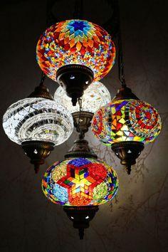 Multicolour Turkish Mosaic Hanging Lamp Light Hand Made 5 Large Globe