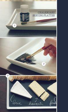 Chalk board serving platter. #diy #platter #chalk