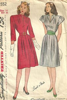 Simplicity 1552 Vintage 40s Sewing Pattern by studioGpatterns