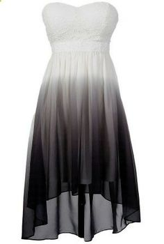 Black, Grey, and White Ombre High Low Dress... if I actually do go to prom this year Id probably wear this