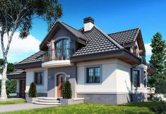DOM.PL™ - Projekt domu DM Śnieżka K CE - DOM GM2-59 - gotowy koszt budowy Beautiful House Plans, Beautiful Homes, Civil Construction, Exterior House Colors, Grand Entrance, Home Fashion, Floor Plans, House Design, Flooring